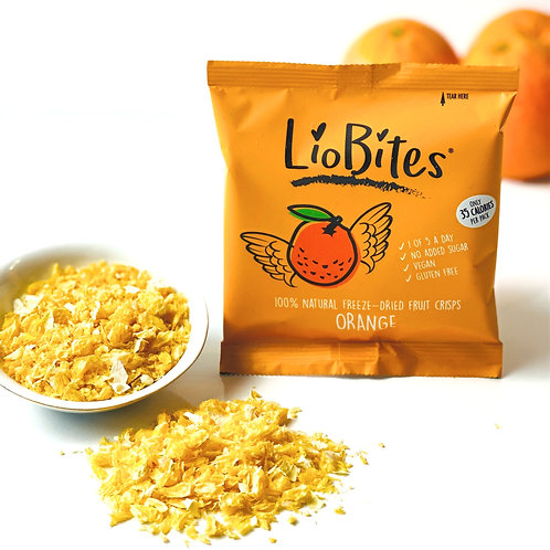 LioBites Crispy Orange Bits -- Small pieces Batch 1 Box of 15 Packs