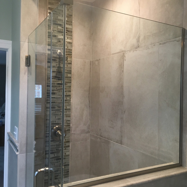 Owners suite custom shower build.  Schluter built shower with heated tile and MTI Juliet Airbath.  #schluter #lineardrain #lewisberry #mti #juliet #heatedtile #conestogatile #pennhandy