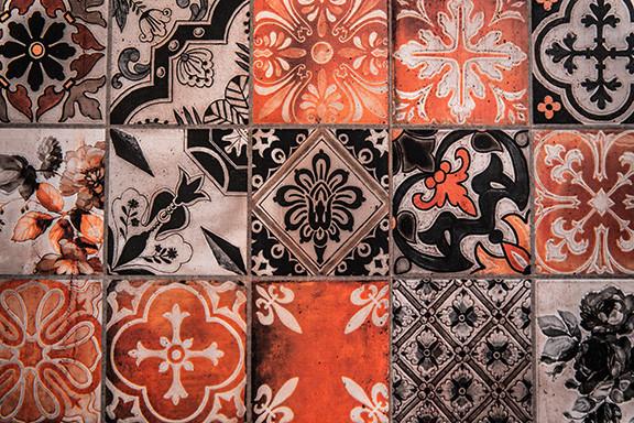 Orange and Black Decorative Tiles