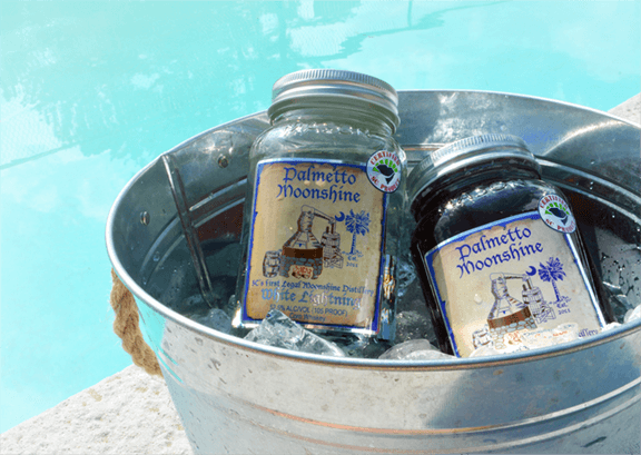 Palmetto Moonshine in Bucket With Ice