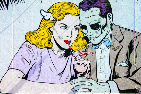 Cartoon of Couple Drinking Milkshake