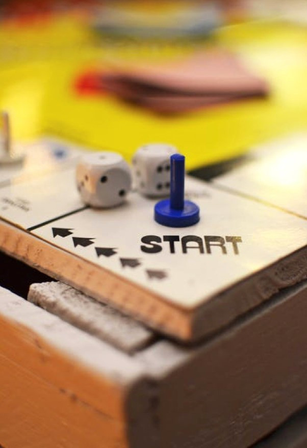 Start button on board game