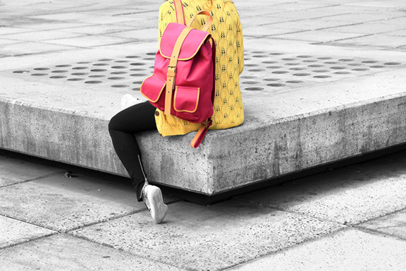 Woman with Pink Knapsack