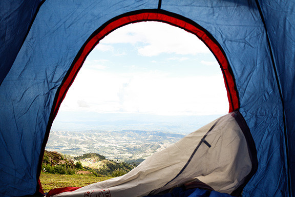 Looking Out of a Tent To a Beautiful View