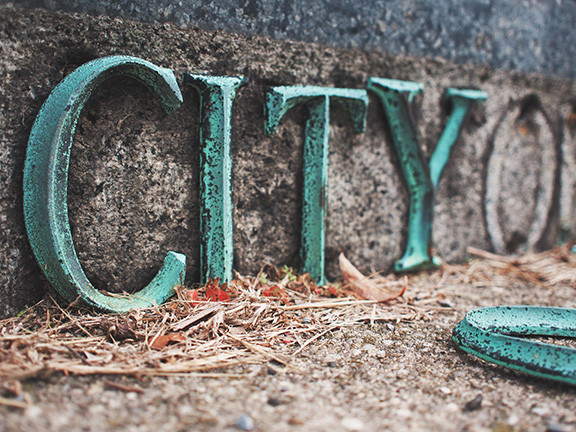 Artwork with the Word City