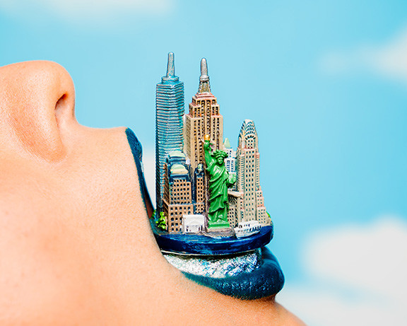 New York City Skyline Coming Out of Someones Mouth