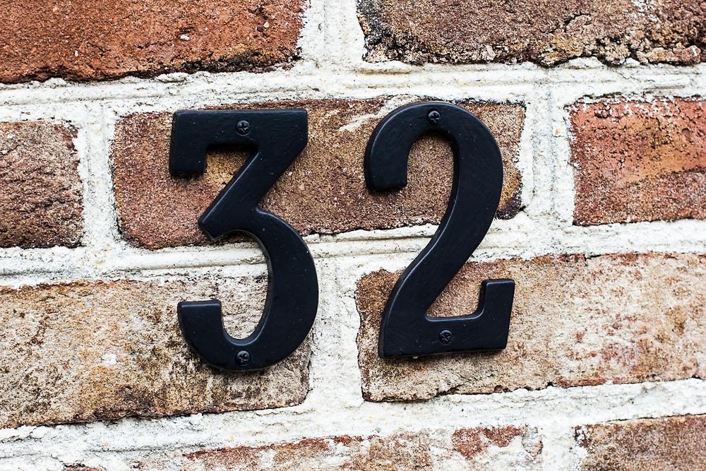 Number 32 on bricks