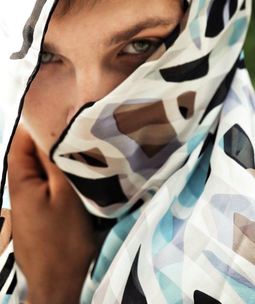 Woman with Scarf around face