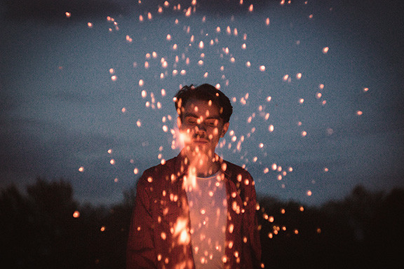 Guy with Firework Sparklers
