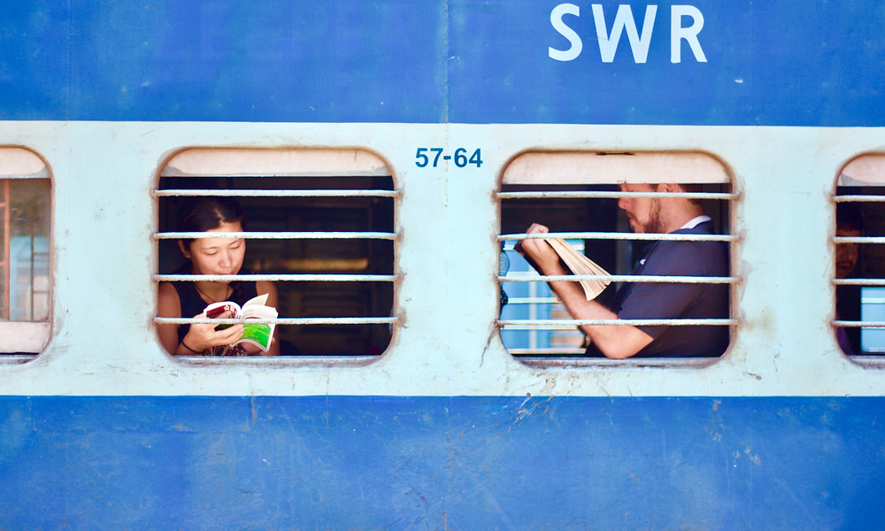 People reading on train