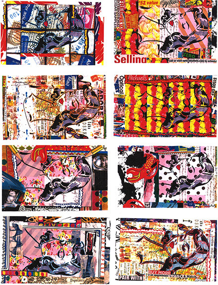 Several collages with a woman