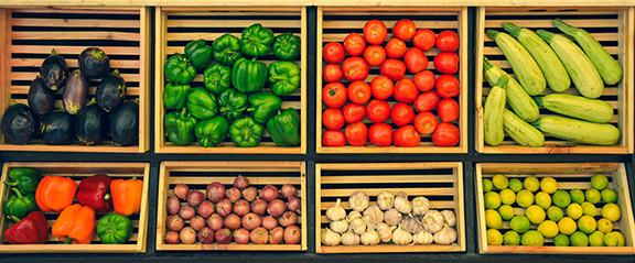 Very Colorful Vegetables in Bins