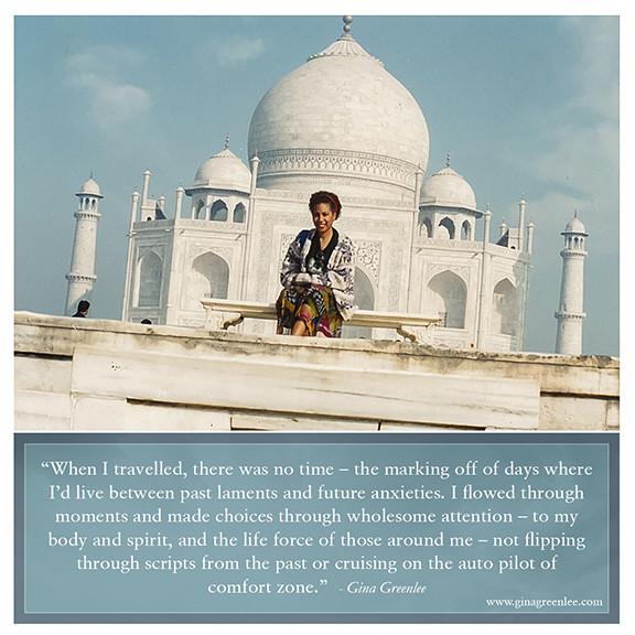 Gina Greenlee at the Taj Mahal