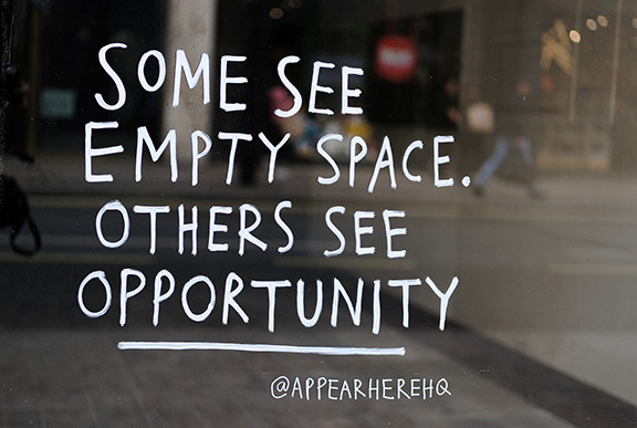 Some See Empty Space and Others See Opportunity Sign.