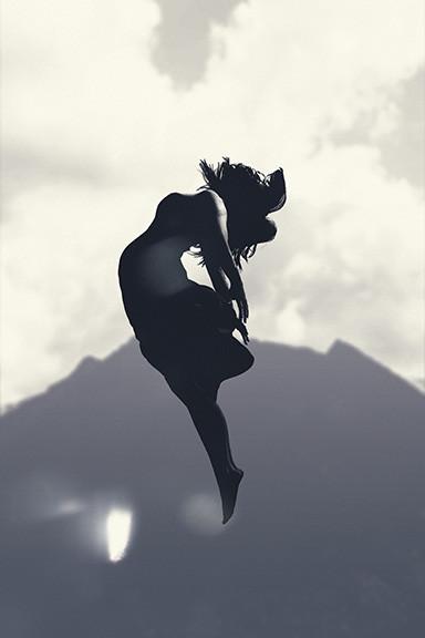 Woman Floating Backward in Space