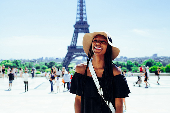 Black Woman At Eiffel Tower