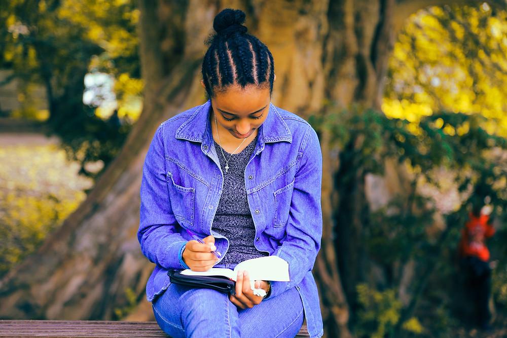 African American girl reading