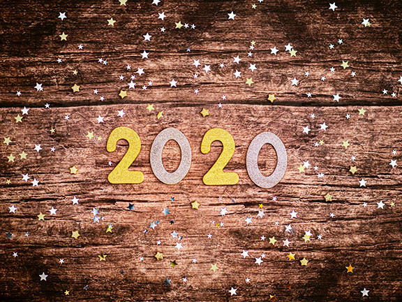 2020 on Brown Wood Background