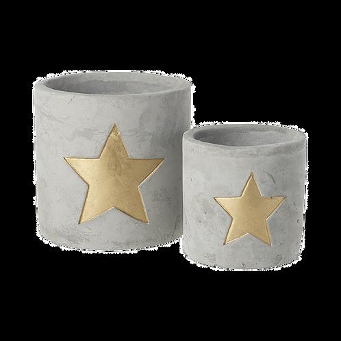 Cement gold star pot set