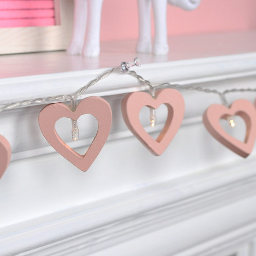 Wooden hearts string fairy lights