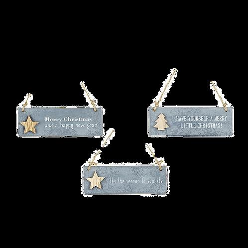 set of 3 Christmas hanging signs
