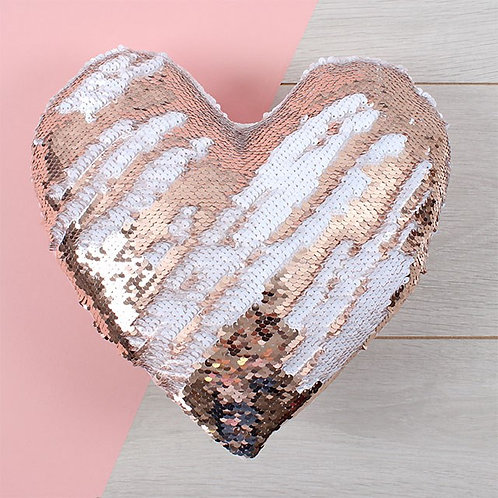 Reversible sequin heart cushion
