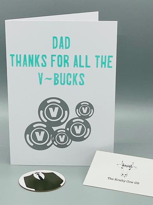 Fortnite Fathers Day Card - V-Bucks
