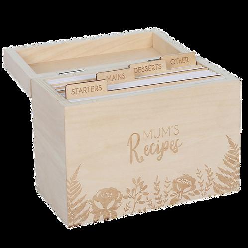 Wooden 'Mums Recipe Box'