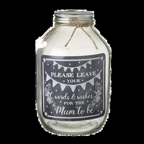 'Mum to be' glass jar