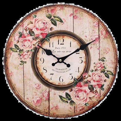 Distressed Rose Clock