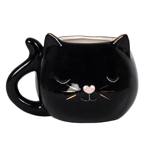 3d black cat mug