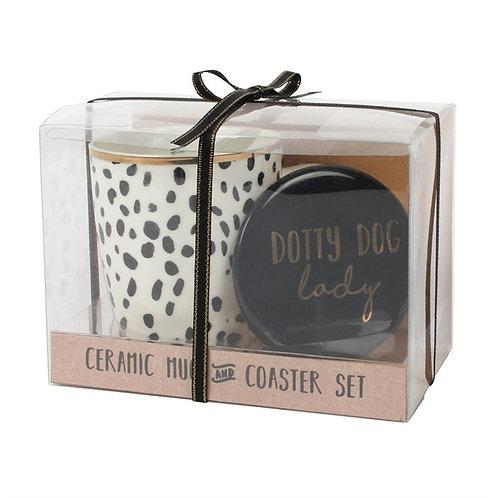 Dotty dog mug and coaster set