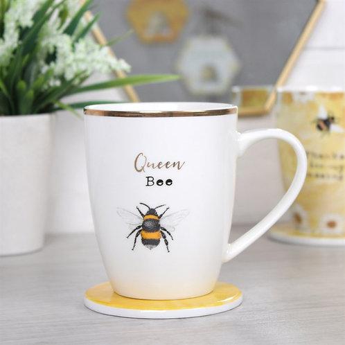 Quuen bee mug and coaster set
