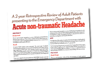 A 2-year retrospective review of adult patients presenting to the Emergency Department with Acute non-traumatic Headache.