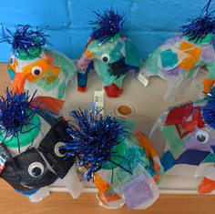 We made elephants from milk bottles during recycling week.