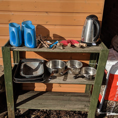 The mud kitchen is ready for action!