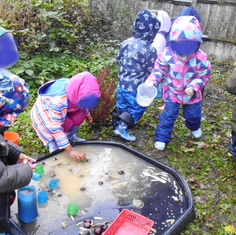 Forest school water fun