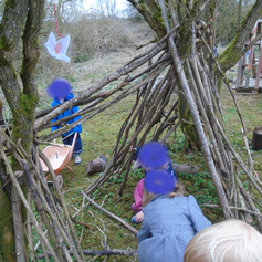Building a camp in the wooded area