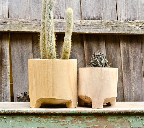 Modern Natural Timber Footed Indoor Plant Pot Planter