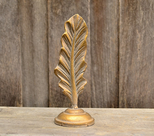 Decorative Golden Metal Feather Statue