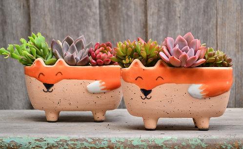 Quirky Handmade Ceramic Fox Plant Pot Planter