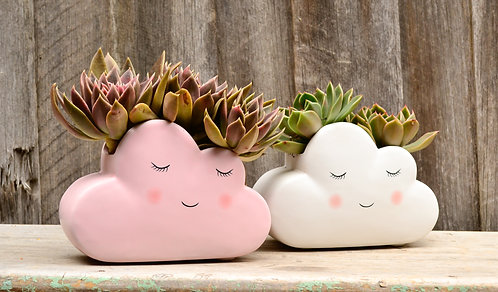 Cute Ceramic Pink and White Cloud Planter
