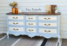 Large Vintage Provincial Blue Eight Drawer Bedroom Dresser with Timber Top