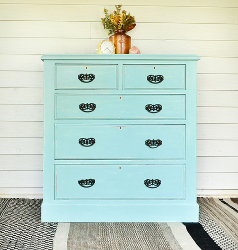 Custom Aqua Shabby Antique Chest of Drawers