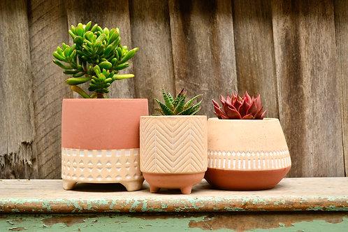 Ceramic Tricolour Terracotta and Beige Geometric Patterned Pot Planters