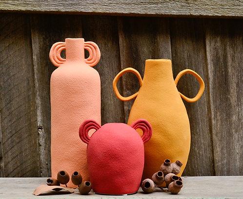 Bright Textured Ceramic Decorative Vase Vessel