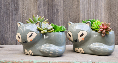 Ceramic Earthenware Grey 'Simba' Cat Planter