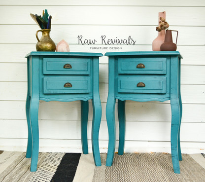 Deep Teal Two Drawer Bedside Table Set