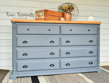 Large Grey Eight Drawer Dresser with Matte Black Handles & Timber Top