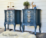 Large Smokey Blue Provincial Three Drawer Bedside Tables